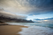 Wide Angle View Of Kogelbay Beach As A Cold Winter Coldfront Moves In Over The Western Cape Of South Africa