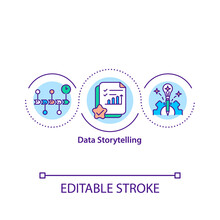 Data Storytelling Concept Icon. Compelling Narrative. Analysis. Digital Content. Communicating Information Idea Thin Line Illustration. Vector Isolated Outline RGB Color Drawing. Editable Stroke.