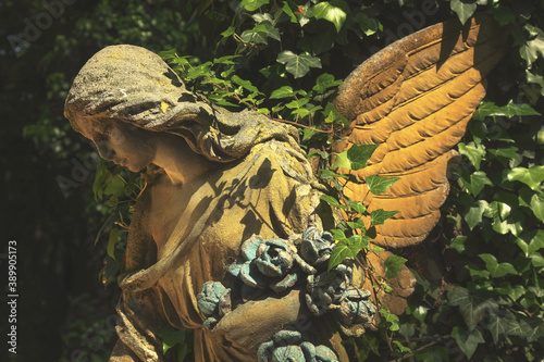 Fényképezés Angel with wings. Ancient statue.