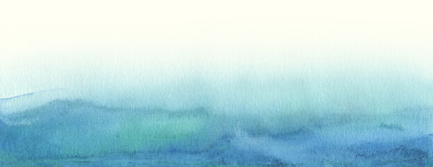 Art Abstract blue watercolor painting blots landscape. Long horizontal background.