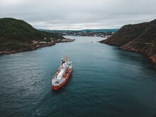 Coast Guard Boat Entering The Harbour In St. Johns Newfoundland Canada On An Overcast Day