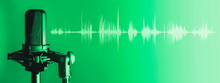 Microphone With Waveform On Green Background, Broadcasting Or Podcasting Banner