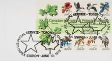 Briefmarke Stamp Gestempelt Used Frankiert Cancel Vintage Retro Alt Old Kanada Canada Tiere Animals Vögel Vogel Birds Maple Ahorn Stern Star