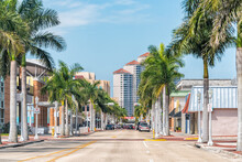 Fort Myers, USA - April 29, 2018: City Town Street During Sunny Day In Florida Gulf Of Mexico Coast For Shopping And Palm Trees