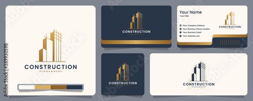 Obraz construction , builder , building ,gold color ,banner and business card , logo design inspiration - fototapety do salonu