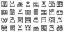 Burning Gas Stove Icons Set. O...