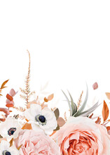 Vector Floral Bouquet Border, Frame Pattern With Stylish Fall Garden Blush Peach & Pink Roses, White Anemone Flowers, Autumn Colorful Orange, Brown Eucalyptus Leaves. Watercolor Wedding Invite, Banner