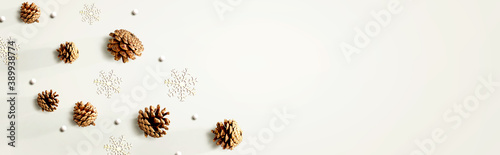 Obraz Christmas pine cones with snow flakes - flat lay - fototapety do salonu