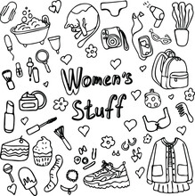 Female Little Things Set Of Stickers. Vector Illustration Women's Stuff. Women's Favorite Things. Bathroom Cat Hair Dryer Sweets Clothing Sneakers. Graphic Sketch. Women's Secrets