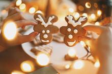 Hands Holding Gingerbread Rein...