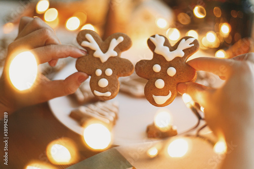 Obraz Hands holding gingerbread reindeer cookies with icing on background of  festive lights. Christmas - fototapety do salonu