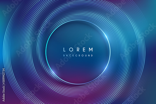 Fototapeta Abstract neon color circle lines background obraz