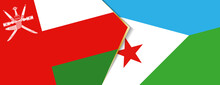 Oman And Djibouti Flags, Two Vector Flags.