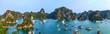 Halong-Bucht mit hohen Felsen in Vietnam. Dschunken und Fischerboote im Golf von Tonkin, ein Panorama.
