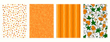 Set Of Seamless Patterns For Thanksgiving Day Gifts Wrapping. Holidays Backgrounds With Pumpkins And Orange Colores