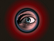 Vintage Drawing Human Eye Look Through Peephole On Red BG