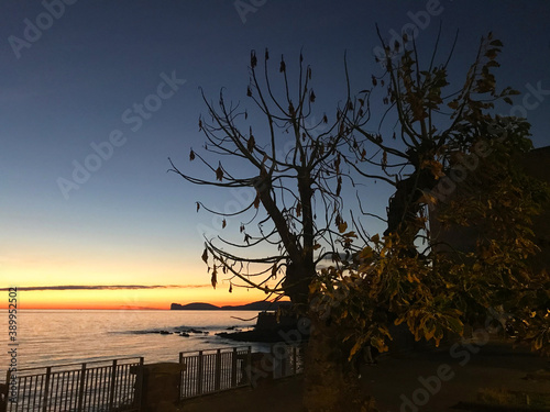 sunset on seafront bastions in alghero, sardinia, italy Fotobehang