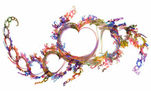 Abstract Fractal Hearts Of Joyful Spring Color, Different Sizes Are Arranged In A Wave One After Another On A White Background. Graphic Design Elements. 3d Rendering. 3d Illustration.