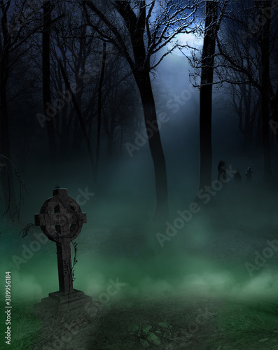 Cemetery background with headstone Fotobehang