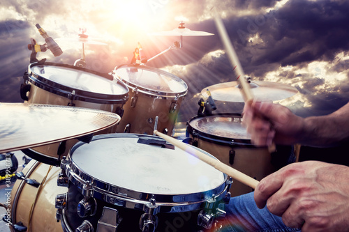 Live music and rock band on stage Canvas