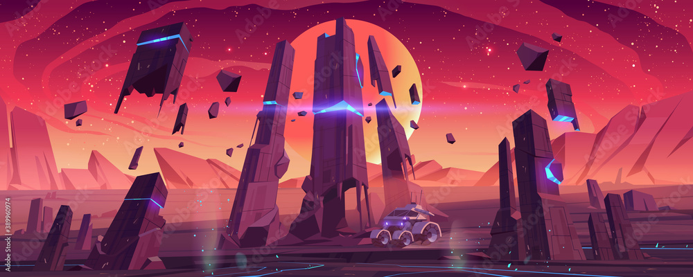 Fototapeta Mars rover on red planet surface explore alien landscape. Robotic autonomous vehicle for space discovery and scientific research, futuristic background with glowing rocks, cartoon vector illustration
