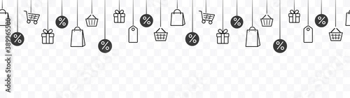 Obraz Black friday offer seamless banner or discount border with gift box, shop bags, price tags and present. Vector illustration sale banner isolated on transparent background - fototapety do salonu