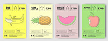 Vector Illustrations. Set Of Posters Or Price Tags For Fruits. Banana, Pineapple, Watermelon, Apple.