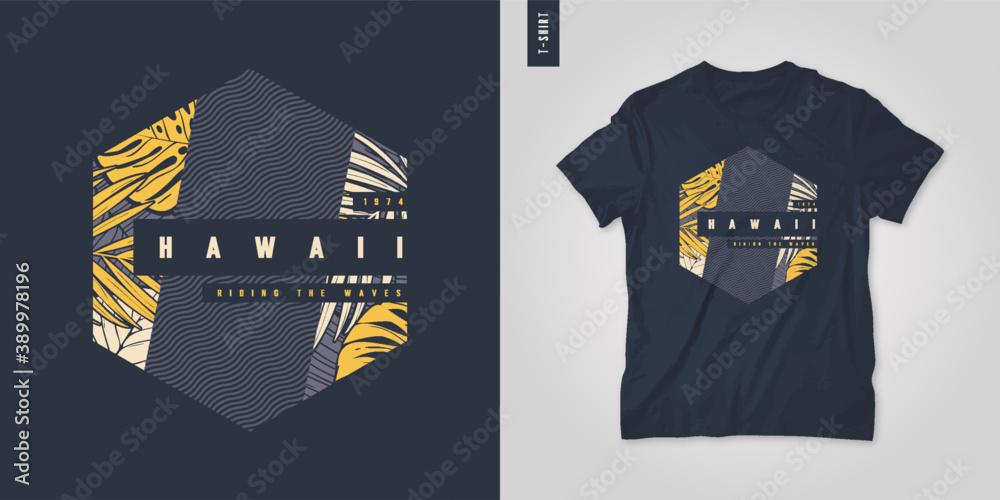 Fototapeta Hawaii. T-shirt geometric floral vector design, poster, print, template
