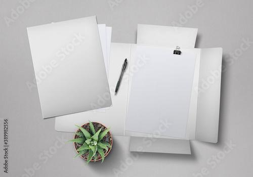 Leinwand Poster Flap Folder Mockup