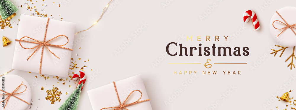 Fototapeta Christmas banner. Background Xmas design of realistic white gift box, 3d render decorative holiday objects, Horizontal poster, greeting card, headers for website. Merry Christmas and Happy New Year.