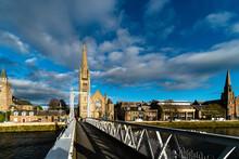 INVERNESS, UNITED KINGDOM - Oct 05, 2018: Beautiful Wide Shot Greig Street Bridge In Inverness, Scotland