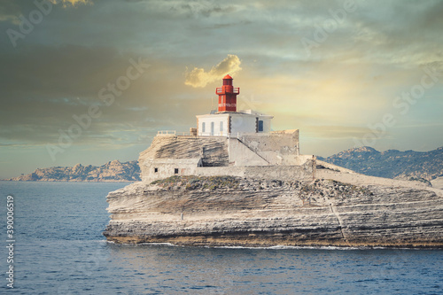 Stampa su Tela the old lighthouse of La Madonetta built in 1954 in Bonifacio in France