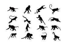 Monkey Silhouette Icon Vector Set For Logo