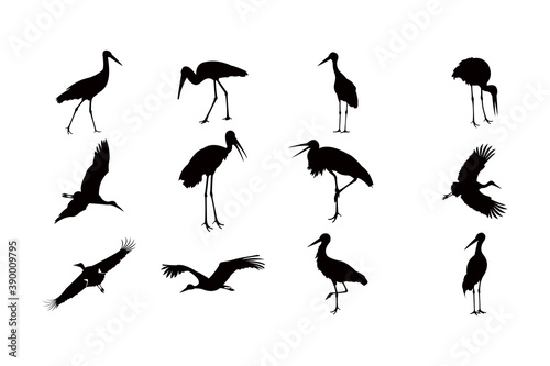 Fotomural stork silhouette icon vector set for logo