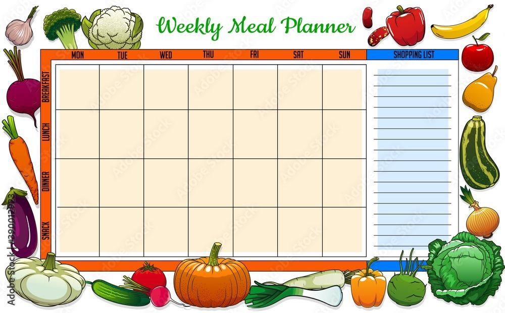 Fototapeta Weekly meal planner vector food week plan with sketch vegetables and fruits. Calendar menu breakfast, lunch, dinner and snack with shopping list. Dieting diary timetable template with engraved veggies