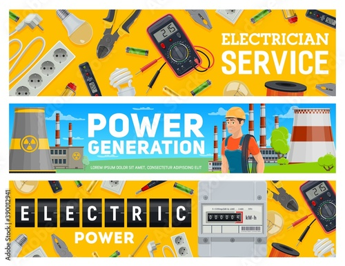 Electrician service and electric power generation banners Canvas Print