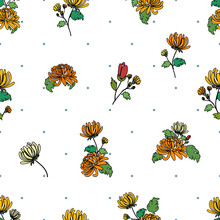 Small Floral Chrysanthemum Bouquets, Orange And Yellow Black Outline Illustration Over Tiny Blue Dots Background Seamless Pattern