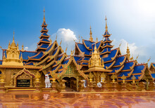 The Beautiful Of Wat Phiphat Mongkol, This Is A Famous Tourist Destination Sukhothai,Thailand.