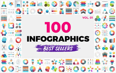 Fototapeta na wymiar 100 Best-Selling Vector Infographic Elements - set 1. Presentation slide templates. Perfect for any industry from social media and startups to ecology and creative thinking.