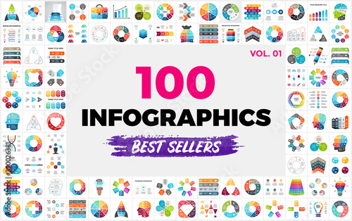 100 Best-Selling Vector Infographic Elements - set 1 Poster Mural XXL
