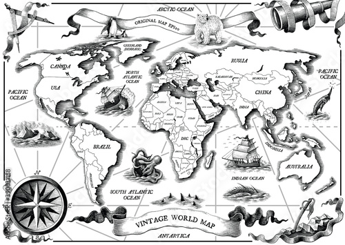Vintage old world map hand draw engraving style black and white clip art isolated on white background