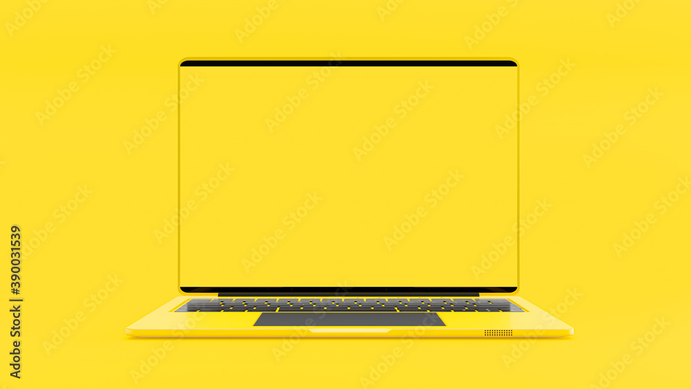 Fototapeta Laptop yellow color blank screen on work dask table.  Mock-Up for your text. Yellow minimal and Computer background idea concept. 3D Render.