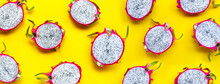 Dragon Fruit Or Pitaya On Yellow Background. Delicious Tropical Exotic Fruit.