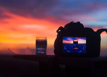DSLR Camera On A Glass Table