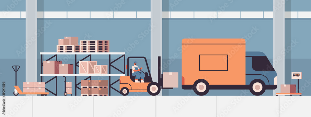 Fototapeta forkplift driver loading cardboard boxes in van product goods shipping delivery service concept warehouse interior horizontal vector illustration