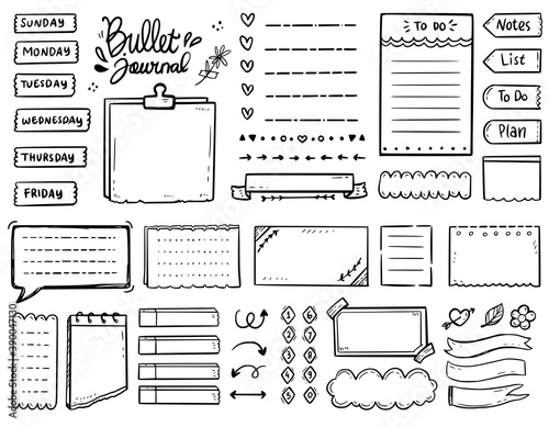 Foto Big set bullet journal notes drawing doodle vector collection