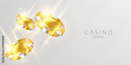 Obraz na płótnie Gold coins Casino Luxury vip invitation with confetti Celebration party Gambling banner background