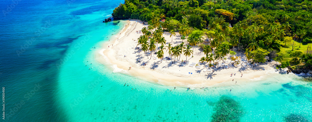 Fototapeta Vacation background. Travel concept. Aerial drone view of beautiful caribbean tropical island with palms and turquoise water. Banner wide format