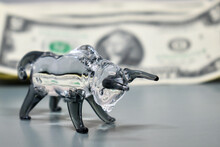 Glass Figurine Of A Bull On A ...