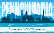 Williamsport Pennsylvania City Skyline Vector Silhouette